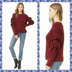Burgundy Cable Knit Ruffle Sleeve Sweater NWT M